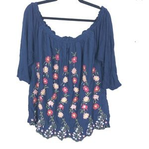 LUCKY BRAND embroidered off the shoulder top B24